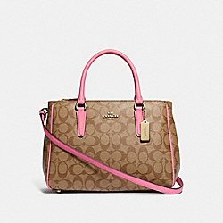 SURREY CARRYALL IN SIGNATURE CANVAS - F67026 - KHAKI/PINK RUBY/GOLD