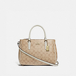 SURREY CARRYALL IN SIGNATURE CANVAS - F67026 - LIGHT KHAKI/CHALK/IMITATION GOLD