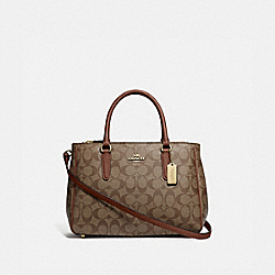 SURREY CARRYALL IN SIGNATURE CANVAS - F67026 - KHAKI/SADDLE 2/IMITATION GOLD