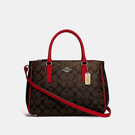 COACH F67026 SURREY CARRYALL IN SIGNATURE CANVAS BROWN/TRUE RED/IMITATION GOLD