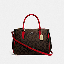 COACH F67026 - SURREY CARRYALL IN SIGNATURE CANVAS BROWN/TRUE RED/IMITATION GOLD