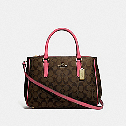 COACH F67026 Surrey Carryall In Signature Canvas BROWN/STRAWBERRY/IMITATION GOLD