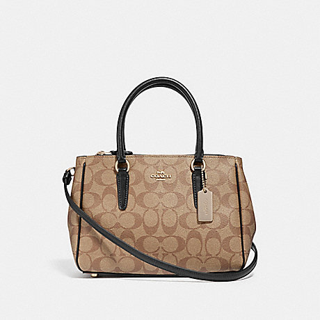 COACH F67027 MINI SURREY CARRYALL IN SIGNATURE CANVAS KHAKI/BLACK/IMITATION GOLD