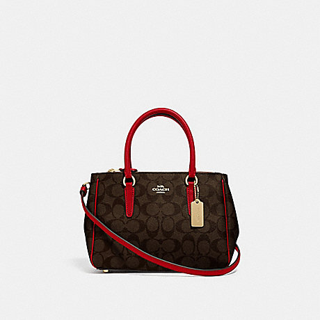 COACH F67027 - MINI SURREY CARRYALL IN SIGNATURE CANVAS - BROWN/TRUE  RED/IMITATION GOLD | COACH HANDBAGS