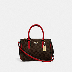 MINI SURREY CARRYALL IN SIGNATURE CANVAS - F67027 - BROWN/TRUE RED/IMITATION GOLD