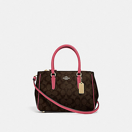COACH F67027 MINI SURREY CARRYALL IN SIGNATURE CANVAS BROWN/STRAWBERRY/IMITATION-GOLD