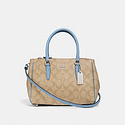 MINI SURREY CARRYALL IN SIGNATURE CANVAS - F67027 - LT KHAKI/CORNFLOWER/SILVER