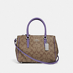 COACH F67027 Mini Surrey Carryall In Signature Canvas KHAKI/LIGHT PURPLE/SILVER