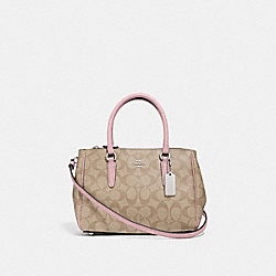 MINI SURREY CARRYALL IN SIGNATURE CANVAS - F67027 - LIGHT KHAKI/CARNATION/SILVER