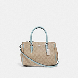 MINI SURREY CARRYALL IN SIGNATURE CANVAS - F67027 - LIGHT KHAKI/SEAFOAM/SILVER