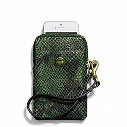 COACH F67040 Signature Stripe Embossed Snake Universal Phone Case