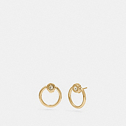 OPEN CIRCLE HALO STUD EARRINGS - F67073 - GOLD