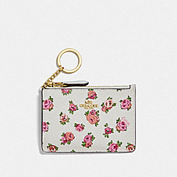 COACH F67075 Mini Skinny Id Case With Mini Vintage Rose Print GD/CHALK VINTAGE ROSE