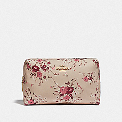 COACH F67088 Large Boxy Cosmetic Case With Floral Bundle Print GD/BEECHWOOD FLORAL BUNDLE