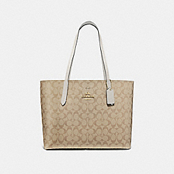 AVENUE TOTE IN SIGNATURE CANVAS - F67108 - LIGHT KHAKI/CHALK/IMITATION GOLD