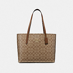 AVENUE TOTE IN SIGNATURE CANVAS - F67108 - KHAKI/SADDLE 2/IMITATION GOLD