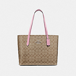 AVENUE TOTE IN SIGNATURE CANVAS - F67108 - TULIP/KHAKI/SILVER