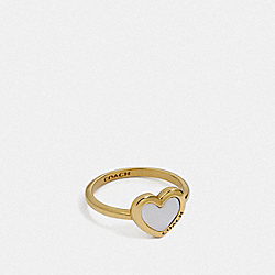 COACH F67110 Pearl Heart Ring WHITE/GOLD