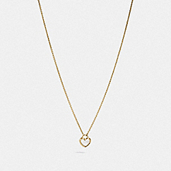COACH F67111 Pearl Heart Necklace WHITE/GOLD