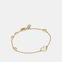 COACH F67112 Pearl Heart Bracelet WHITE/GOLD
