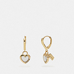 COACH F67113 Pearl Heart Huggie Earrings WHITE/GOLD