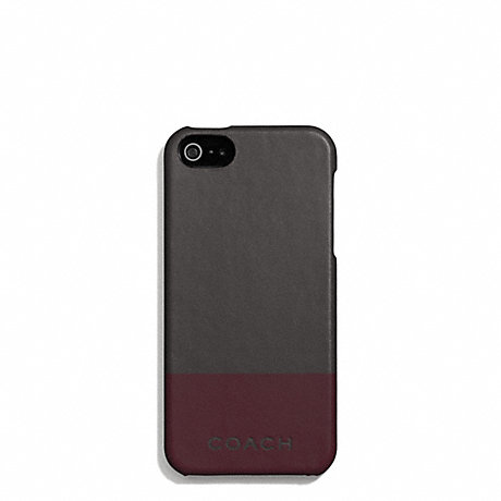 COACH f67116 CAMDEN LEATHER STRIPED MOLDED IPHONE 5 CASE DARK GREY/DARK RED