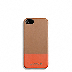 COACH F67116 Camden Leather Striped Molded Iphone 5 Case SADDLE/PAPAYA
