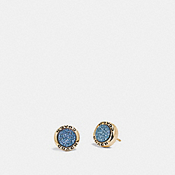COACH F67125 Open Circle Stud Earrings BLUE/GOLD