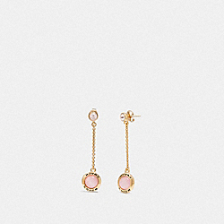 COACH F67128 Open Circle Long Dangle Earrings PINK/GOLD