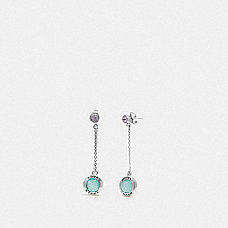 COACH F67128 - OPEN CIRCLE LONG DANGLE EARRINGS BLUE/SILVER