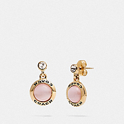 COACH F67129 - OPEN CIRCLE DROP EARRINGS PINK/GOLD