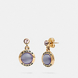 COACH F67129 - OPEN CIRCLE DROP EARRINGS PURPLE/GOLD
