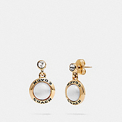 OPEN CIRCLE DROP EARRINGS - F67129 - WHITE/GOLD