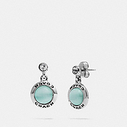 COACH F67129 Open Circle Drop Earrings BLUE/SILVER