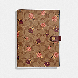 NOTEBOOK IN SIGNATURE CANVAS WITH TOSSED PEONY PRINT - F67141 - KHAKI/MULTICOLOR