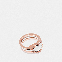COACH F67148 - HALO HEART RING ROSE GOLD/SILVER