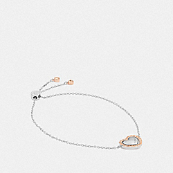 COACH F67153 Halo Heart Chain Bracelet ROSE GOLD/SILVER