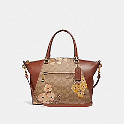 COACH F67164 - PRAIRIE SATCHEL IN SIGNATURE CANVAS WITH PRAIRIE FLORAL PRINT B4/TAN RUST BOW
