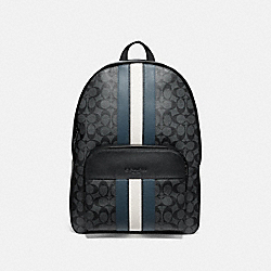 HOUSTON BACKPACK IN SIGNATURE CANVAS WITH VARSITY STRIPE - F67250 - CHARCOAL/DENIM/CHALK/BLACK ANTIQUE NICKEL