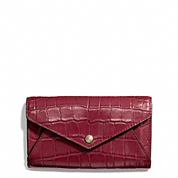 COACH F67283 Croc Embossed Envelope Phone Case LIGHT GOLD/MERLOT