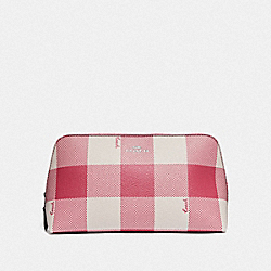COACH F67329 - COSMETIC CASE 22 WITH BUFFALO PLAID PRINT STRAWBERRY/SILVER