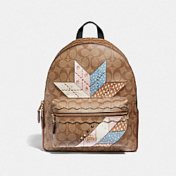 MEDIUM CHARLIE BACKPACK IN SIGNATURE CANVAS WITH STAR PATCHWORK - F67369 - KHAKI MULTI/LIGHT GOLD