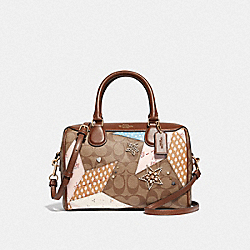 MINI BENNETT SATCHEL IN SIGNATURE CANVAS WITH STAR PATCHWORK - F67370 - KHAKI MULTI/LIGHT GOLD