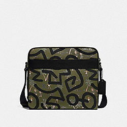 KEITH HARING CHARLES CAMERA BAG WITH HULA DANCE PRINT - F67371 - SURPLUS MULTI/BLACK ANTIQUE NICKEL