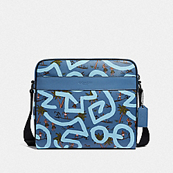 KEITH HARING CHARLES CAMERA BAG WITH HULA DANCE PRINT - F67371 - SKY BLUE MULTI/BLACK ANTIQUE NICKEL