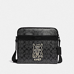 KEITH HARING CHARLES CAMERA BAG IN SIGNATURE CANVAS WITH MOTIF - F67372 - CHARCOAL/BLACK/BLACK ANTIQUE NICKEL
