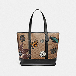 COACH F67373 Keith Haring West Tote In Signature Canvas With Patches TAN/BLACK ANTIQUE NICKEL