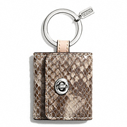 COACH F67395 Faux Python Turnlock Picture Frame Key Ring SILVER/NATURAL