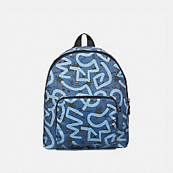 COACH F67409 Keith Haring Packable Backpack With Hula Dance Print SKY BLUE MULTI/BLACK ANTIQUE NICKEL