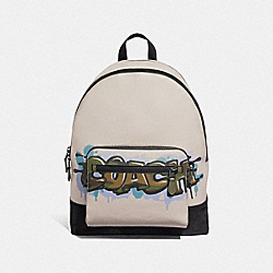 WEST BACKPACK WITH COACH GRAFFITI - F67410 - GREY BIRCH MULTI/BLACK ANTIQUE NICKEL